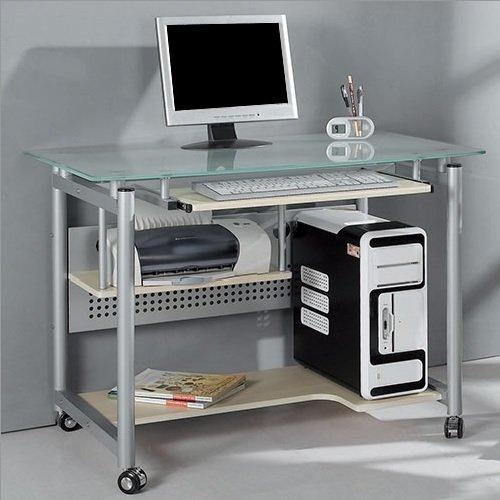 Rolling Computer-Schreibtisch Glas und-Metall Home Office Computer Workstation -