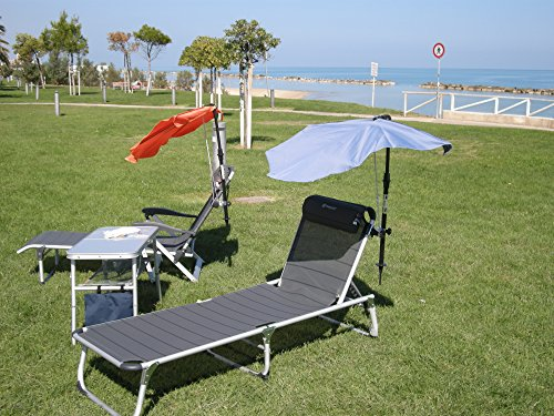 Les terrasses de jardin sET sont loisirs-tERASSENLIEGE jAN kURTZ chaise longue sAMBA 5,4 kG seulement-couleur : gris-argenté-oUTDOOR chaise longue fussteil suspension avec dossier haut-charge maximale : 120 kG-châssis en aLUMINIUM-sTABIELO fächerschirm holly-bleu clair-holly sunshade ®-système breveté innovation fabriqué en allemagne-disponible également en n et pistache fÄCHERSCHIRME voir fARBTABELLE-tAUPE zANGENBERG hUSUM -