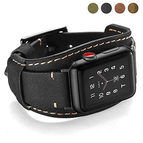 CooBES Kompatibel mit Apple Watch Armband 44mm 42mm,Echtes Leder Uhrenarmband Cuff Ersatz Armbänder mit Edelstahlschließe für iWatch Series 5/4/3/2/1 für Männer oder Frauen (44/42mm, Schwarz)