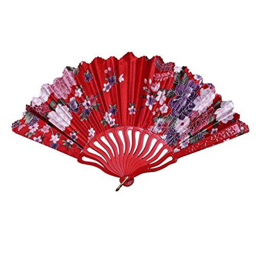 Weiss Kostüm Janet - MOTOCO Damen Faltfächer Blumenmuster Seidenfächer Handfächer Eleganter Tanzfächer Hochzeitsdekoration
