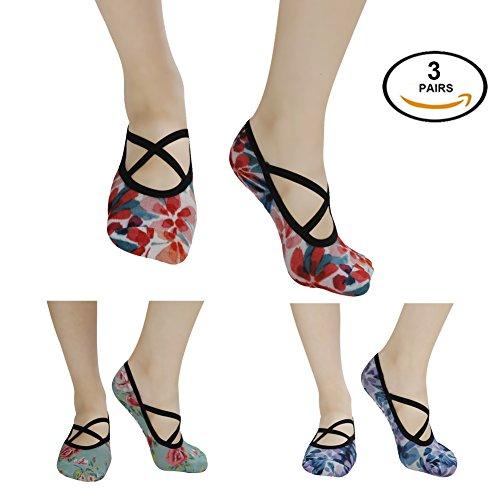 J'colour Women's Yoga Grip Socks Non Slip Digital Printed Full Toe Cotton Socks for Ballet,Pilates,Barre,Dance 1/2/3 Pairs