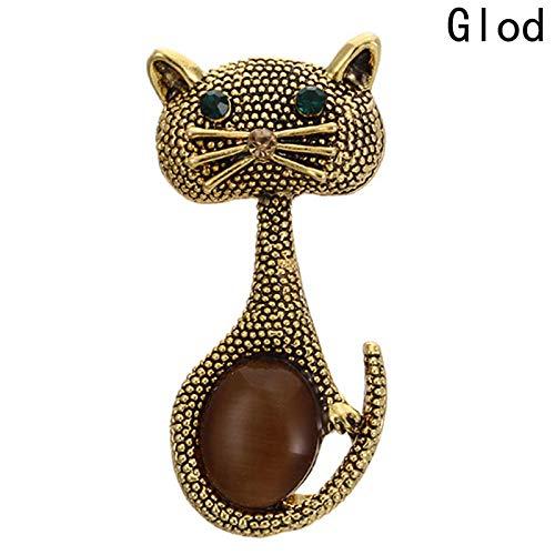 GMZQQ Zarte Brosche Vintage Eyes Cats Brosche Corsage Schwarz Gold Silber Farbe Opale Tierbroschen für Frauen Geschenke Kleine Pins Bijouterie Brosche Stilvolle und schöne Brosche ist Kauf wertGD