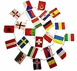HAAC Fahnen Girlande Wimpelkette mit 24 Teilnehmer Länder 8 Meter Größe je Fahne 21 cm x 15 cm Fußball EM 2016