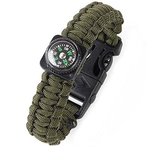 San Bodhi® Survival Gear Armband Fire Starter Scraper Kompass Trillerpfeife Gear Kits, armee-grün (Grüne Scraper)