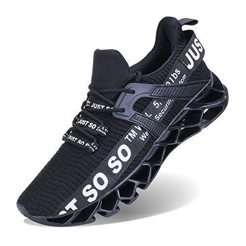 Wonesion Herren Fitness Laufschuhe Atmungsaktiv Rutschfeste Mode Sneaker Sportschuhe, ,, 1-schwarz&weiß, 43 EU