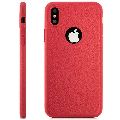 iPhone X Hülle, zanasta® Ultra Slim Silikon Schutzhülle TPU Back Cover Case Handyhülle Leder Design Rot Rot