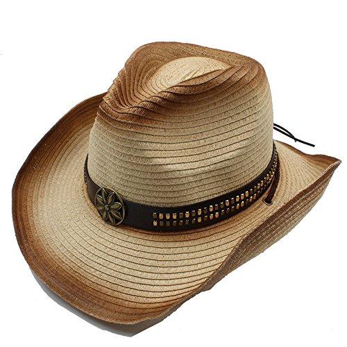 n Männer Stroh Hohl Western Cowboy Hut Für Gentleman Cowgirl Jazz Kirche Cap Papa Sombrero Strand Sonnenhut Angepasst Größe ( Color : 3 , Size : 58CM ) (Cowboy Kostüm Diy)