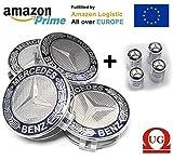 FORTEN CAR 4X Nabenkappen 75 mm Logo Mercedes - Klasse A B C E CLK GL M ML SLK - für Felgen Lega EOM: A170 400 00 25 dunkelblau mit BlattBlattgold Silber