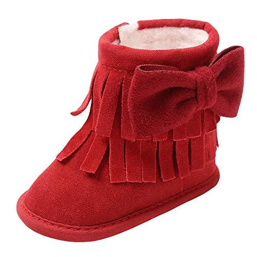 Sonnena Kleiner Bär Schuhe Kleinkind Niedlich Schneeschuhe Boots Kinderschuhe Baby Mädchen Warm Winterschuhe Schuhe Jungen Lauflernschuhe Weiche Sohle Babyschuhe Krabbelschuhe (12-18M, Rot@)