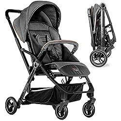 Hoco Buggy Reverse - Silla de paseo ligera reversible y reclinable, fácil de maniobrar, plegado compacto con una mano y freno de pie - Gris Negro