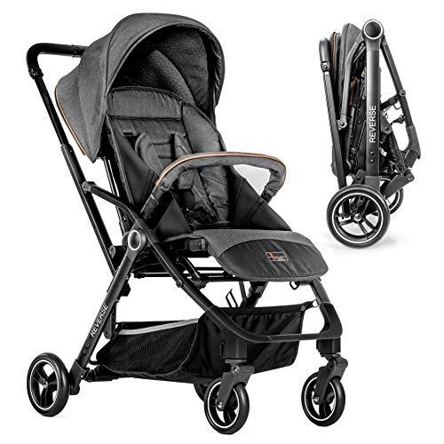 Hoco Buggy Reverse - Passeggino leggero, seduta reversibile fronte mamma e fronte strada, con schienale reclinabile | Pieghevole, freno a pedale | Grigio e nero