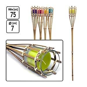 Gartenfackel 30cm Bambus grüne Kerze KYNAST Kerzenfackel Garten Fackel Lampe