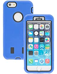 Good Quality Apple iphone 6s Case cover Durable Shockproof Armor Case 3in1 Combo Rigid PC + Soft Silicone Protective Case (Blue)