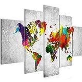 Bilder Weltkarte World Map Wandbild 150 x 100 cm Vlies - Leinwand Bild XXL Format Wandbilder Wohnzimmer Wohnung Deko Kunstdrucke Bunt 5 Teilig - MADE IN GERMANY - Fertig zum Aufhängen 105153c