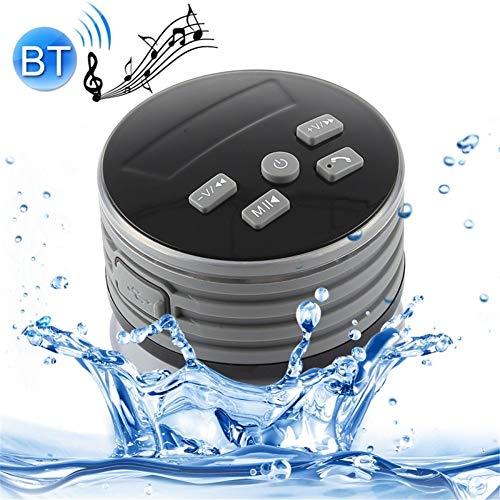 WYGC Speakers Bluetooth Lautsprecher Tragbar IPX7 Wasserdicht Mini Kabelloser Lautsprecher Kühle Bunte LED-Lichter Saugnapf-Design für Badezimmer Dusche, Strand und Outdoor (Farbe : Schwarz)
