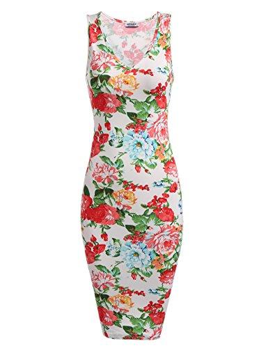 HOTOUCH Damen Etuikleid Vintage Kleid Cocktailkleid Midikleid Bleistift Kleid Rockabilly Kleid Festliche Bodycon Enges Kleid Mit Blumendruck Typ2-Weiß