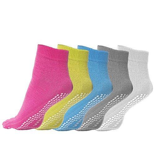 Yoga Socken Fitness Gymnastik Zehensocken Sport Fußbodensocken mit Gummisohlen Baumwolle Rutschfest für Pilates Martial Arts Tanz verschiedene Farben 5 Paar Set von Discoball®