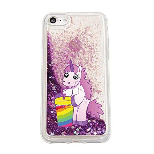 finoo | iPhone 7 Plus Flüssige Liquid Lila Glitzer Bling Bling Handy-Hülle | Rundum Silikon Schutz-hülle + Muster | Weicher TPU Bumper Case Cover | Einhorn 02 Einhorn Limo