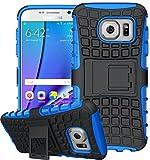 Samsung Galaxy S6 Edge Plus Hülle Nnopbeclik Hybrid 2in1 TPU+PC Schutzhülle Cover Case Silikon Rüstung Armor Dual Layer Muster Handytasche Backcover 360-Grad-Drehung ständer stoßfest Handy Hülle Tasche Schutz Etui Schale Bumper Pour Samsung Galaxy S6 Edge Plus 5.5 Zoll[Schwarz+Blau]