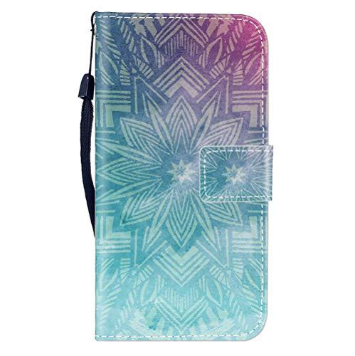 Sunrive Hülle Für WileyFox Spark X, Magnetisch Schaltfläche Ledertasche Schutzhülle Etui Leder Case Cover Handyhülle Tasche Schalen Lederhülle MEHRWEG(W8 Grüne Blume)