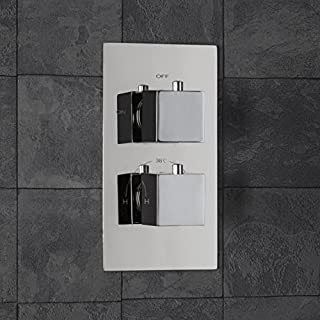 Architeckt Modern Concealed Shower Valve Thermostatic Square Controls Chrome Single Outlet