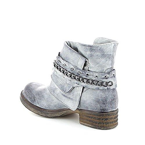 Low-boots avec chaîne Bleu