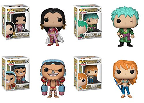 FunkoPOP One Piece: Hancock + Zoro + Franky + Nami – Stylized Anime Vinyl Figure Bundle Set