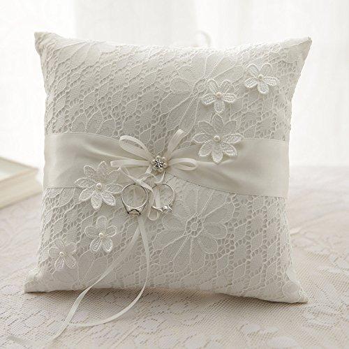 Hochzeit Ringkissen Kissen gestickte Blumen mit Schleife 21cm * 21cm --- Ivory