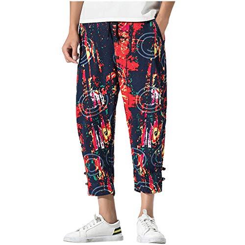 Fascino-M -Uomo Eleganti Lunghi Moda Stampato Floreale Casual Vintage Stile Etnico Hippie Lino Pantalone
