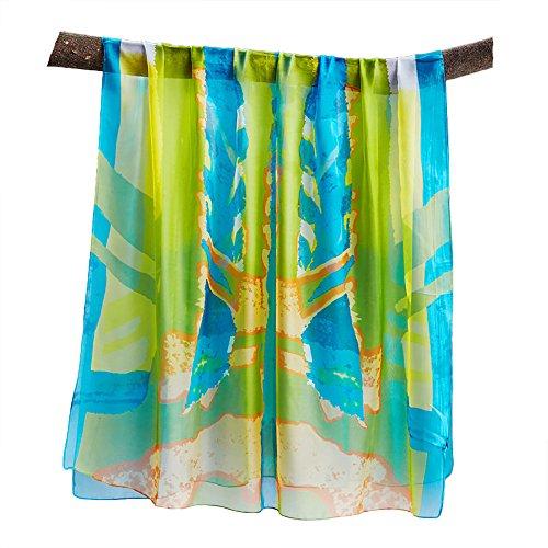 UKStone Damen Übergroesse Luxus Sarong Pareo Strandtuch Wickeltuch Bikini  Sonnenschutz Decke Coverup Bunt Blau Grün