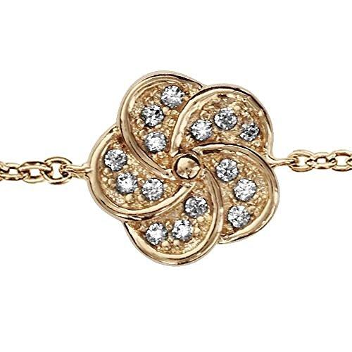 So chic gioielli© bracciale lunghezza regolabile: 16a 18cm fiore ossido di zirconio bianco placcato oro 750
