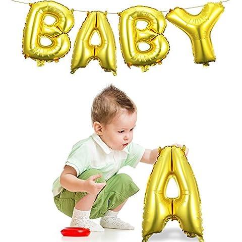 Cute Gold Alphabet Letter Balloon Helium Foil Mylar Balloons Bouquet (qualité supérieure), Matte Gold, Lettres BABY Bannière pour Baby Shower Bridal Wedding Celebration Décoration de fête d'anniversaire