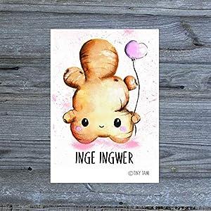 Inge Ingwer Aufkleber Sticker Kawaii Gemüse Obst Handmade