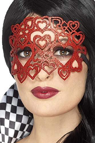 Smiffys Damen Weiche Filz Glitzer Augenmaske, One Size, Rot, 20344