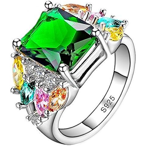 So Chic Gioielli - Anello di Fidanzamento Happy - Solitario Quadrato & Pietre Ovali - Zirconia Verde Multicolore & Argento Sterling 925