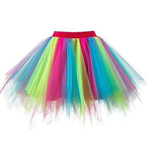 Honeystore Damen's Neuheiten Tutu Unterkleid Rock Ballet Petticoat Abschlussball Tanz Party Tutu Rock Abend Gelegenheit Zubehör Fuchsie Blau und Hellgrün
