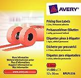Avery Zweckform RPLP1226 Preisauszeichner-Etiketten (15.000 Stück, 1-zeilig, 12 x 26 mm) 10 Rollen rot