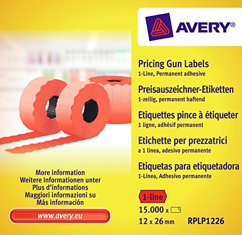 Avery Zweckform RPLP1226 Price Gun Labels 1 Line 12 X 26 MM Rolls 15000 10