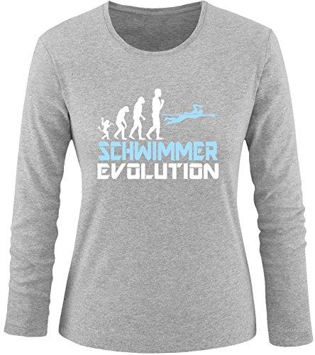EZYshirt® Schwimmer Evolution Damen Longsleeve Grau/Weiss/Hellbl