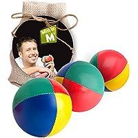 Mister M ✓ Jonglier Bälle ✓ CE Geprüft ✓ Das Ultimative 3 Ball Jonglier Set mit Gratis online Lern Video im Jute Sack