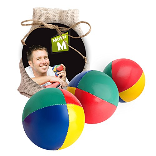Mister M ✓ Das Ultimative 3 Ball Jonglier Set ✓ mit Lern Video (online) ✓ im Jute Sack