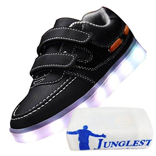 (Présents:petite serviette)JUNGLEST® 7 couleurs Unisexe Enfants LED Rechargeable Light-up Chaussures de sport USB Charge lu Noir