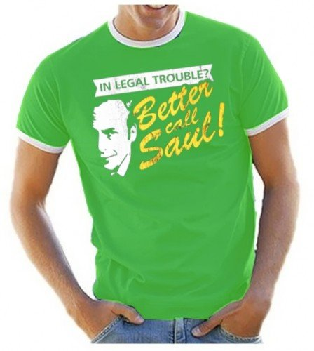 Coole-Fun-T-Shirts - T-Shirt In Legal Troube ? Better Call Saul ! Ringer Heisenberg, T-shirt, verde(green), S