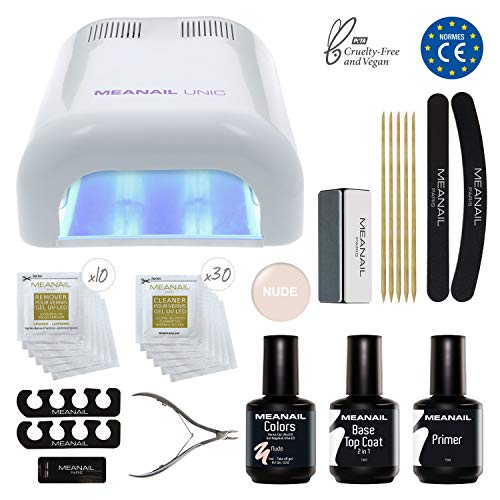 KIT MANUCURE SEMI PERMANENT  Vernis à ongles gel polish & Lampe UV  KIT ESSENTIEL POUR DÉBUTER  SEMI-PERMANENT by Meanail Paris  Lampe UV Unic & Vernis gel polish  White Edition  Vernis semi-permanent  Coffret complet = Gel Polish Colors Nude + Base 2en 1 + Lampe UV 36W + Accessoires  Tenue assurée 3 à 4 SEMAINES  Glamour, Nail-friendly, Vegan & Cruelty free  Normes CE