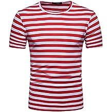 a3b3a85455 Amlaiworld Camiseta de Hombre Originales Camisa de Manga Corta para Hombres  Camiseta de Rayas