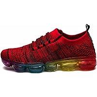 Hombres Respirable Zapatos Para Correr Otoño Invierno Colchón De Aire Tejeduría Zapatillas Aptitud Zapatos ( Color : Red , Size : 43 )