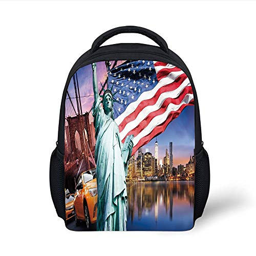 Kids School Backpack United States,USA Touristic Concept Collection Statue of Liberty NYC Cityscape Flag Cars Decorative,Multicolor Plain Bookbag Travel Daypack -