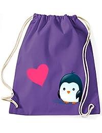 Yute Gimnasio Bolsas de deporte tela Bolsa Algodón Bolsa Mochila con cordón Gymsack Pingüino HEART LOVE LIEBE Reunión Pingüino Corazón