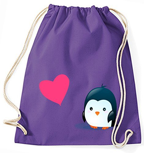 Mein Zwergenland Jutebeutel Pinguin mit pinkem Herz, 12 L, Lila, Motiv 98 Lila