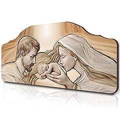 Idea Regalo - Lupia Quadro Capezzale sacro Holy Kiss Brown su Tavola Lavorata, 42x92 cm